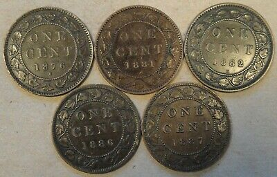 Canada Large Cents 1876-H,81-H,82-H,86, + 87 as Pictured