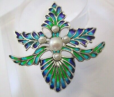 Solid Silver Enamel Naturalistic Brooch Pendant Pearls Art Nouveau Style
