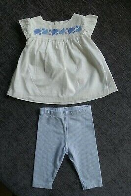 Marks & Spencer M&S Girls Outfit- 3-6 Months - Top & Leggings - Blue & White