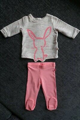 NEXT Girls Outfit - Up To 3 Months - Jumper & Leggings - Bunny - Peach