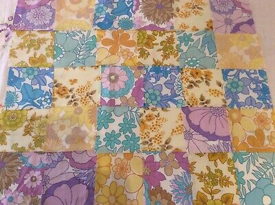 30 purple blue yellow squares for sewing, quilting, genuine vintage retro sheets