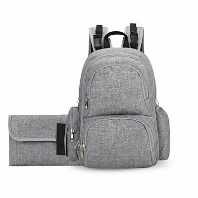 Backpack Diaper Bag for Mom - and Dad | Stroller Straps, Changing Pad, (Grey)