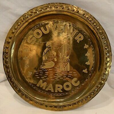 """Brass Souvenir Gift Maroc Morocco Plate Engraved Authentic -11.75"""" Around"""