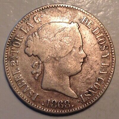 ~1868 Philippines Isabel II Silver  50 Centimos 1/2 Peso