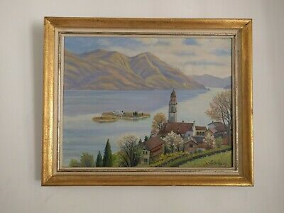 Antique Oil Painting On Canvas Hand Made Rare Dutsh Art Old Church Signed Framed