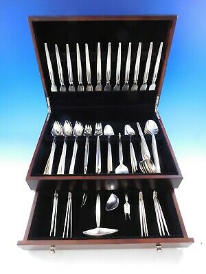 Trenza by Celsa Mexico Sterling Silver Flatware Set Service Mid Century Mod 76pc