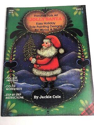 Plaid Primitive Folk Art Jolly Santa by Jackie Cole Easy Holiday Tole Painting
