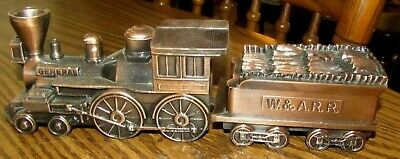 Lot 2 Banthrico W.&A.R.R. Train Engine & Log Car Cast Metal Banks The General