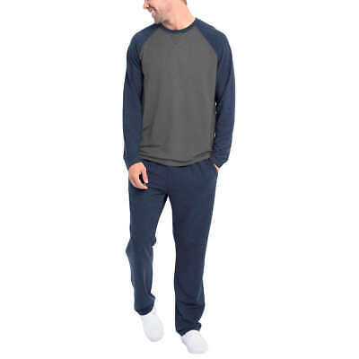 NWT Orvis Mens 2-Piece Pajama Lounge Set Shirt & Pant Midnight Navy/Gray Size L