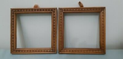 Antique Vintage Timber Chip Carved Arts & Crafts Square Photo Picture Frames 2