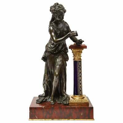 Mauthrin Moreau, French Bronze, Rouge Marble, and Sevres Porcelain Sculpture