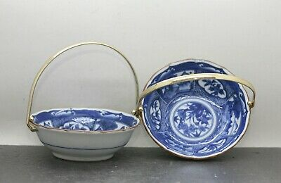 Pair of Fine Quality Vintage Japanese Hand Painted Blue & White Porcelain Bowls