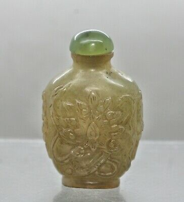 Wonderful Antique Chinese Jade Stone Carved Snuff Bottle c1890s