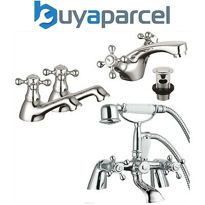 Edwardian Traditional Chrome Mono Basin Shower Mixer Bath Taps Hot & Cold Pair