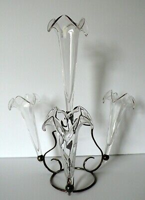 Antique Art Crystal Clear Glass 4 Trumpets Epergne Silver Plated Stand