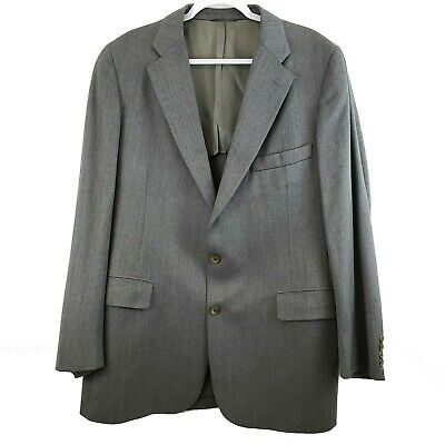 Chaps Mens 46L Sport Coat Gray 100% Wool Two Button Fully Lined Single Vented