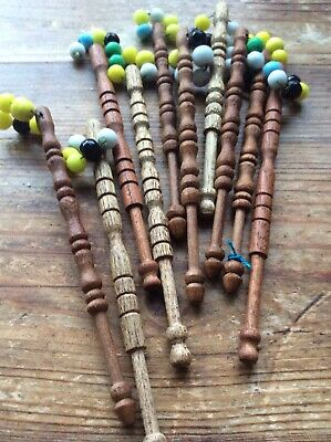 10 LACEMAKING BOBBINS & SPANGLES, Mixed Materials in excellent condition