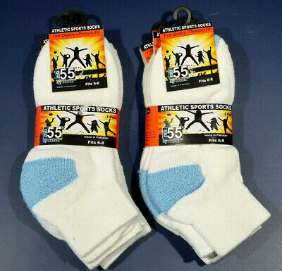 Exell MB55 Ankle Sport socks for Boys Size 6-8 Youth Kid - White and Blue 6 Pair