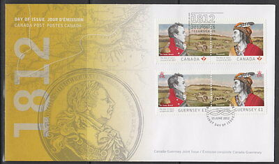 Canada #2554-2555 War Of 1812 Joint Issue With Guernsey First Day Cover