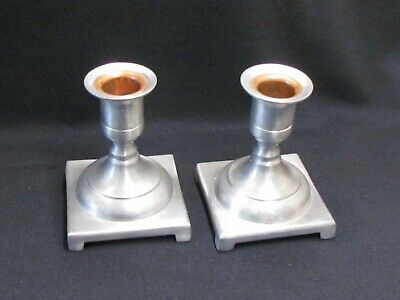 """Colonial Pewter by Boardman Pair Candlesticks Country Primitive 3 5/8"""" #263"""