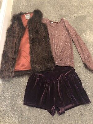 Girls Gorg Next Outfit Top Jacket Shorts 11-12 Excellent