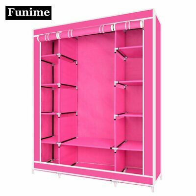 Funime Extra Large Triple Canvas Wardrobe Clothes Storage Hanging Rail Shelves