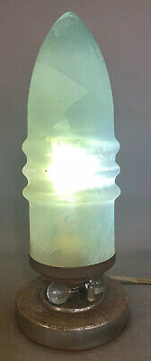 Antique ART DECO Era BULLET Style ART GLASS Old LIGHT BLUE Parlor BOUDOIR LAMP