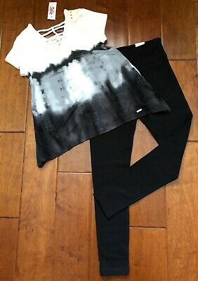 NWT JUSTICE GIRLS Size 12 OUTFIT ~ TIE DYE SHARKBITE TOP / LEGGINGS ~ SO CUTE!