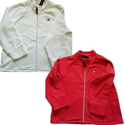 NWT $69 TOMMY HILFIGER Women Full Zip Polar Fleece Jacket Plus Size Red or White