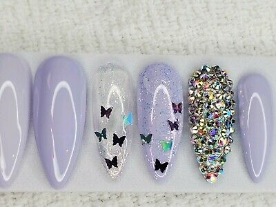 Lilac purple butterfly crystal w/ glitter bling press on nails diamond stiletto