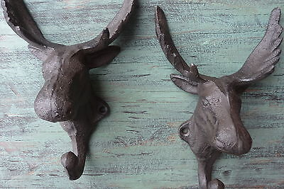MOOSE WALL HOOK  Cast Iron Elk Animal Coat Hat Key Bath Towel CABIN DECOR