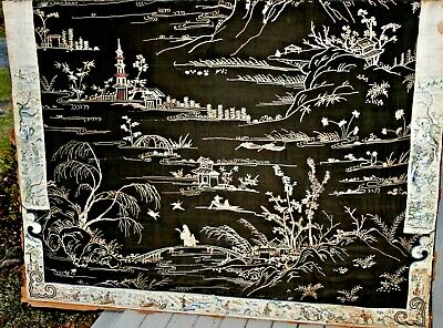 Antique Chinese Silk Embroidered Embroidery Robe Sleeve Panels Textile Figural