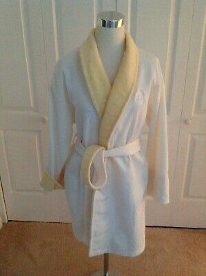 Crabtree and Evelyn White and Yellow Trim 100% Cotton Robe