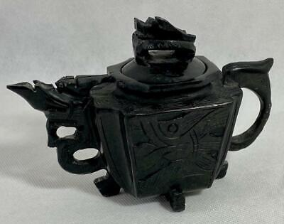Chinese Antique~Teapot~Black Hard Stone Hand Carved Dragon Design~Qing Period