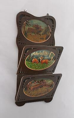 Antique Black Forest Folk Art Elk & Deer Fretwork Painting Wall Pocket