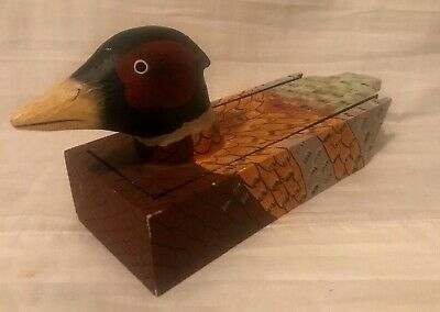 "Carved Wood Duck Decoy Box Xonex Hunting Ammo Trinket Cigar Box Chest 3"" x 11"""