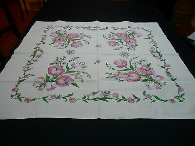 Vintage Cotton Print Tulip Tablecloth - Card Table Size