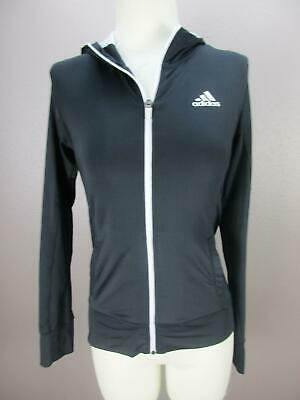 Adidas Size M (10-12) Girls Black Hooded Full Zip Running Track Jacket 232