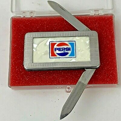 Very Rare Vintage Pepsi Cola Mother of Pearl Money Clip Duel Pocket Knife