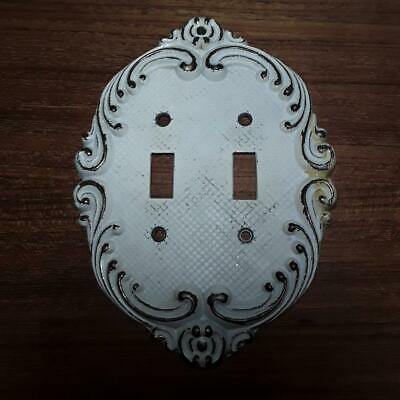VTG Antique Solid Brass 2 Gang Toggle Light Switch Plate Old Paint Shabby Worn