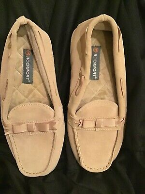New WOMEN'S SUEDE LEATHER MOCCASINS SLIPPERS SHOES SZ 9 Rockport Beige Tan $69