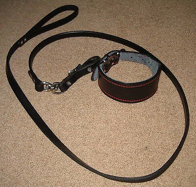 Greyhound leather lead and collar set (black)