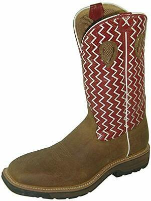 Twisted X Steel Toe Lite Cowboy Work Boots for Men,9 - Distressed Saddle/Cherry