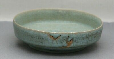 Antique Chinese Ru Yao 汝窑 Duck Egg Blue Crackle Glaze Footed Bowl c1800s