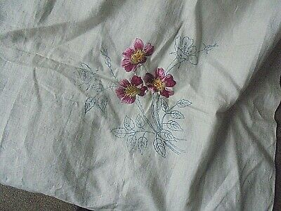"""VINTAGE Tablecloth to embroider PART DONE 42""""X42""""  VERY PRETTY"""