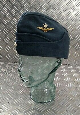 Genuine Vintage British  RAF Issued Forage Side Cap  With Insignia & Buttons
