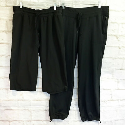 Lot of 2 C9 Champion Black Activewear Pants Joggers and Cropped Wide Leg XXL 2XL
