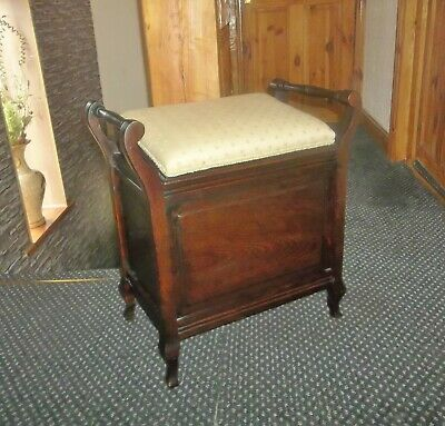 Antique Victorian Piano Stool With Angled Lift Up Seat And Storage Inside
