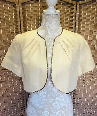 CC Country Casuals Silk Gold Cropped Special Occasion Bolero Jacket UK 14 Petite