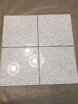 2 Pieces Vintage Ceramic Wall Tiles 4 3/8 White Blue Or Black Speckle Mid-State